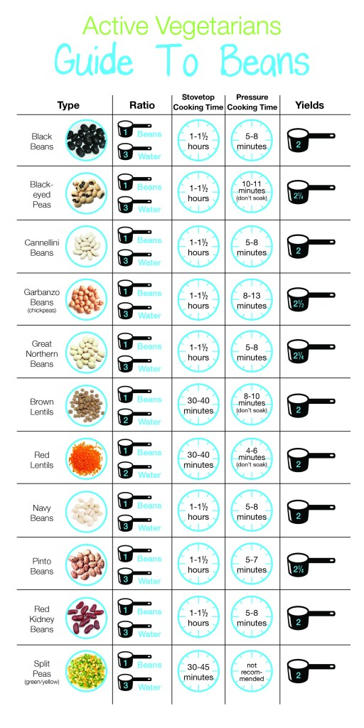 Everything You Need To Know About Beans - PDF Chart by active vegetarian