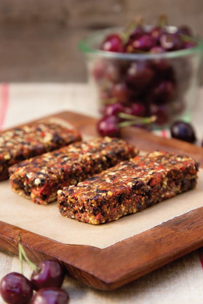 This is a chocolate cherry goji bars recipe made by Active Vegetarian