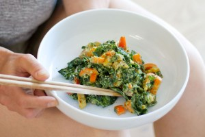 This is a kale salad made by Active Vegetarian