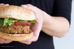 A healthy homemade vegan burger that is high in protein.