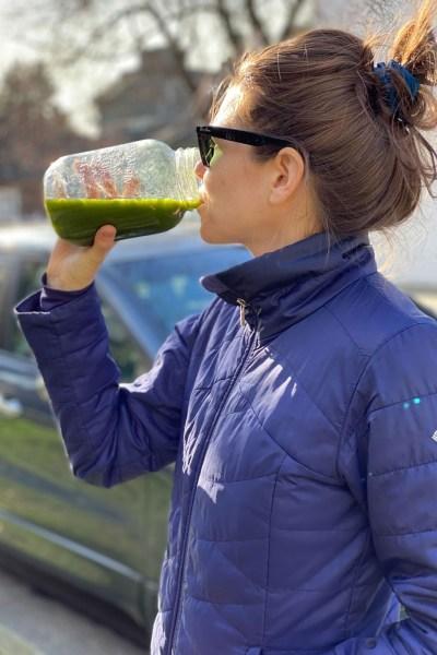 This is Nikki enjoying her post workout juice
