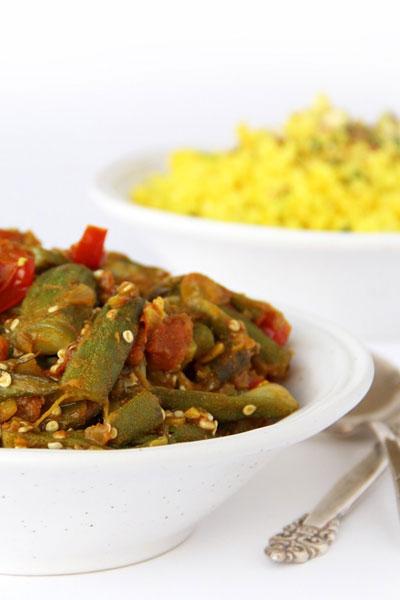 This is vegan indian bhindi masala recipe made by Active Vegetarian