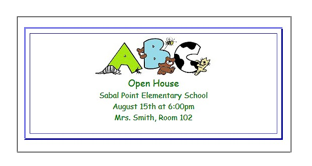 open house classroom invitations