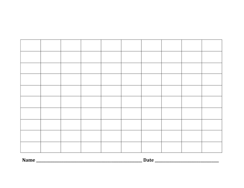 Printable Blank Number Charts 1-100