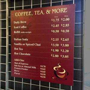 custom printed menu signs