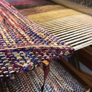 Handwoven fabric on floor loom