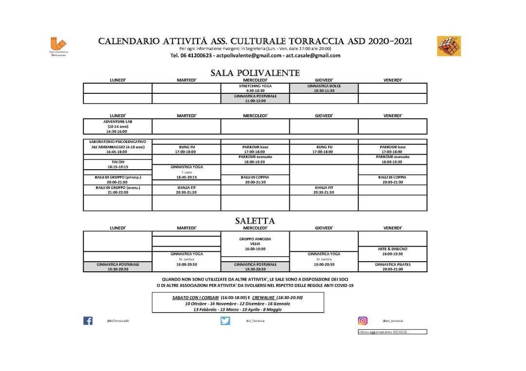Calendario Attività ACTorraccia