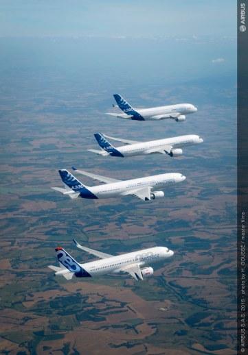 La gamme Airbus en vol