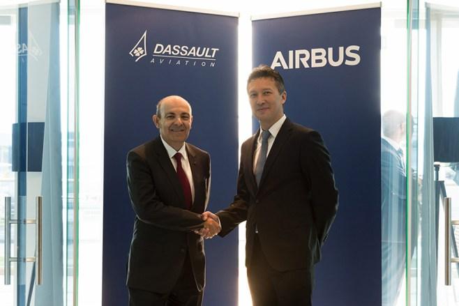 Éric Trappier, PDG de Dassault Aviation et Dirk Hoke, CEO d'Airbus Defence and Space.