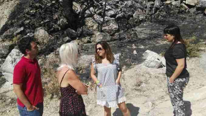 Concejales del Ayuntamiento de Segorbe visitan junto a Mónica Álvaro la zona arrasada por el incendio