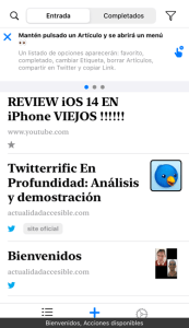 Imagen que muestra la pantalla principal de (Readit app) y algunos artículos añadidos con sus etiquetas en Sorteo de Readit