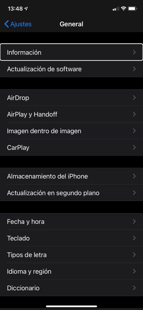 Captura con IOS 14 sabrás si tu iPhone es libre o node pantalla de la aplicación de Ajustes en un iPhone