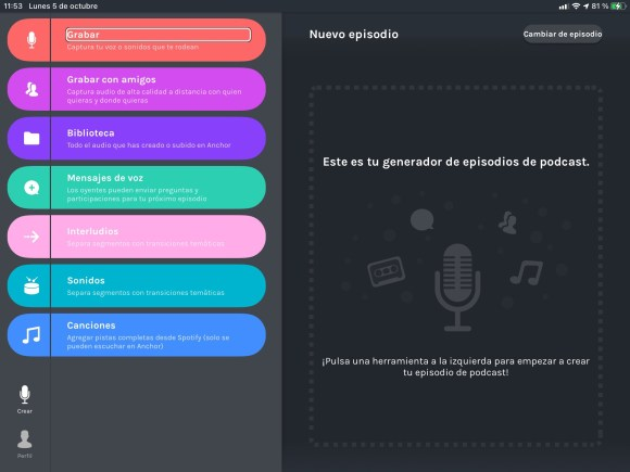 Captura de pantalla de un iPad con la app Anchor by Actualidad Accesible