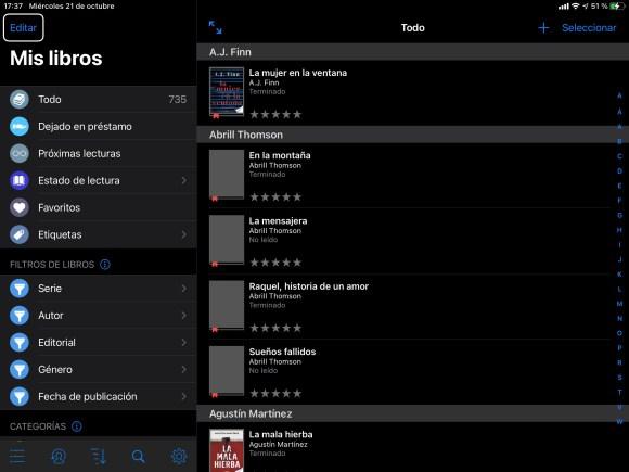 Captura de pantalla de bookBuddy en un iPad en Actualidad Accesible
