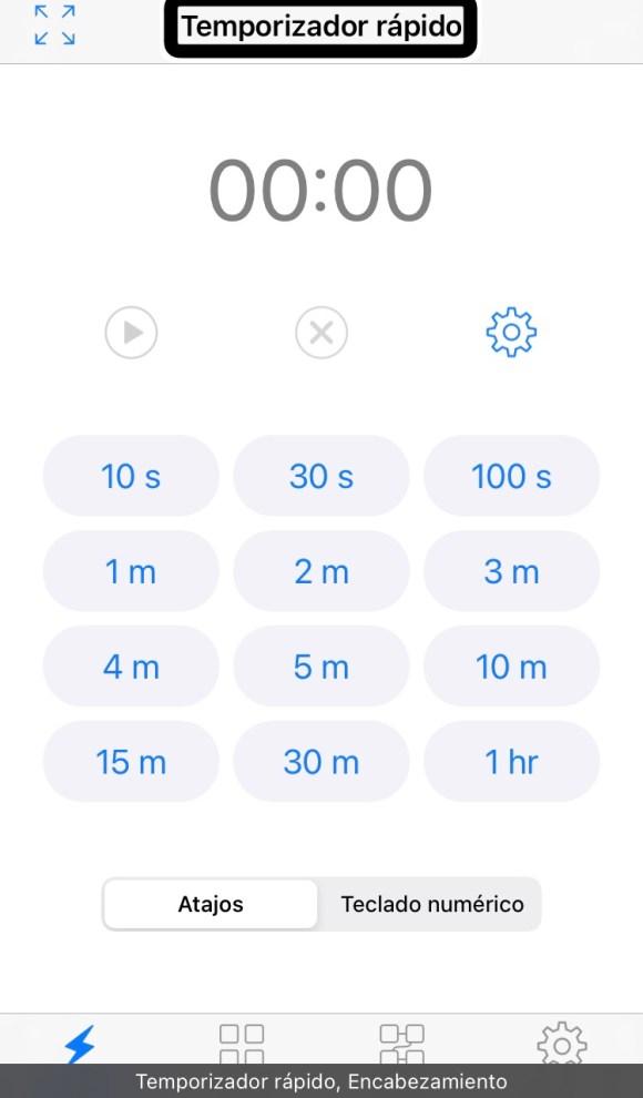 Captura de pantalla de 1Timer administra tu tiempo de forma accesible