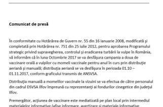 Consiliul Județean Ilfov anunță campanie de vaccinare orală a vulpilor