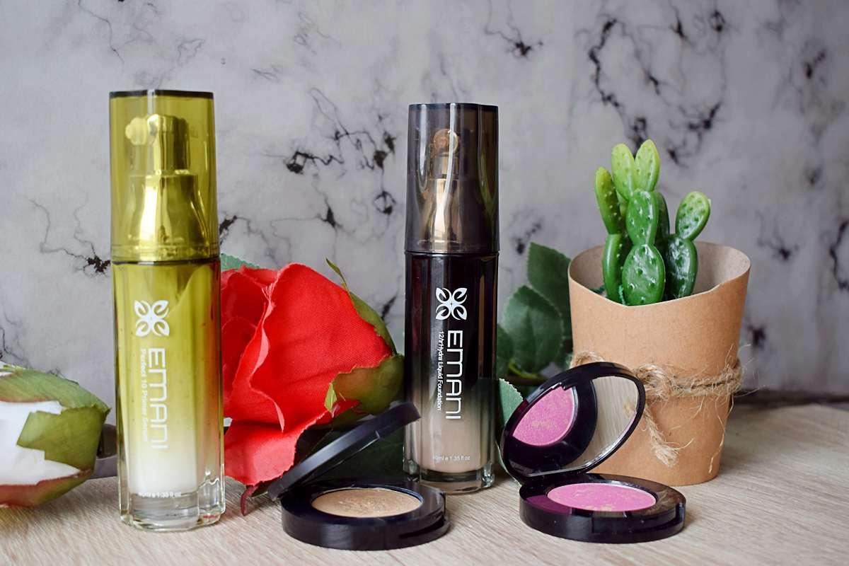 Emani Cosmetics, Perfect10 Primer Serum, HydraWear 12 hr Foundation, concealer, mosaic blush