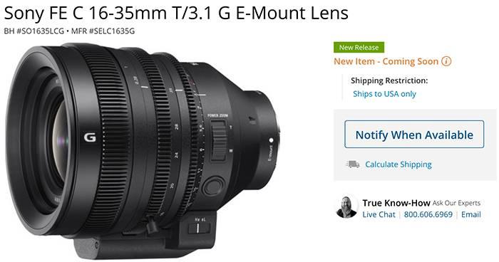 Bientôt un nouvel objectif ? Un très possible Sony FE C 16-35mm T / 3.1 G en sorti prochainement !