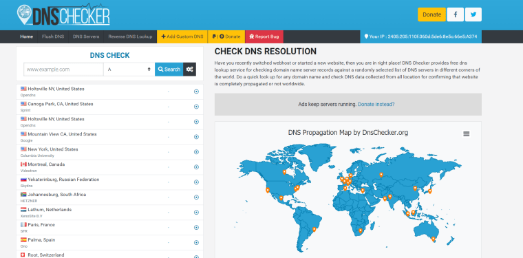 dnschecker.org - Best tools for checking website's DNS