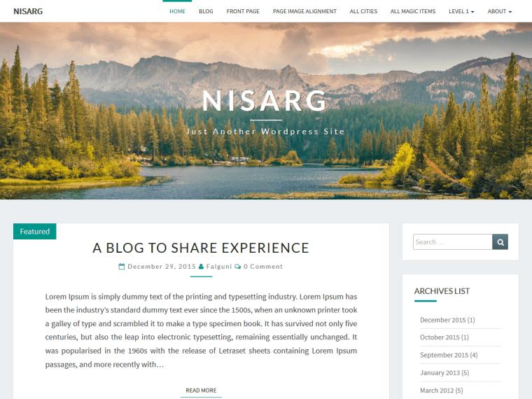 Nisarge Free WordPress Theme for blog