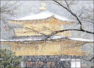neige sur le Kinkaku-ji