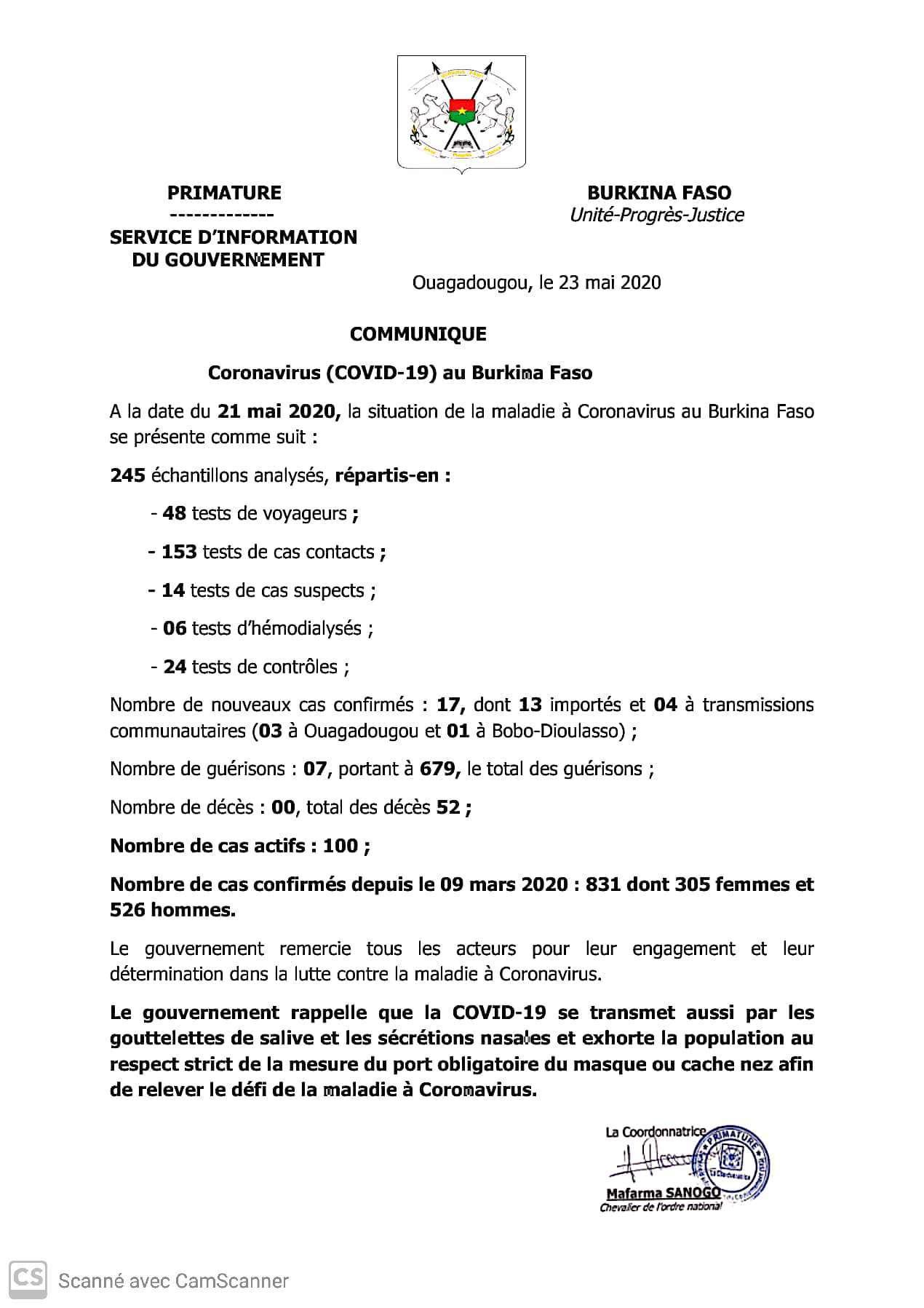 CORONAVIRUS AU BURKINA: 17 nouveaux cas confirmés, 07 guérisons et 00 décès au 21 mai 2020
