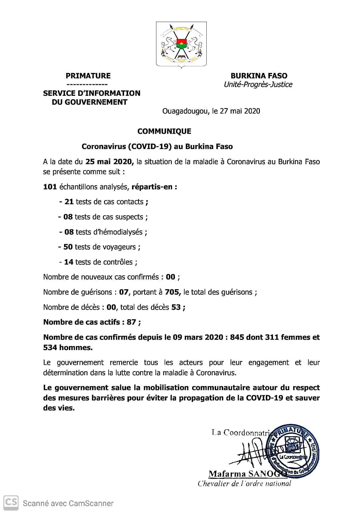 BURKINA : 00 nouvel cas confirmé, 07 guérisons et 00 décès à la date du 25 mai