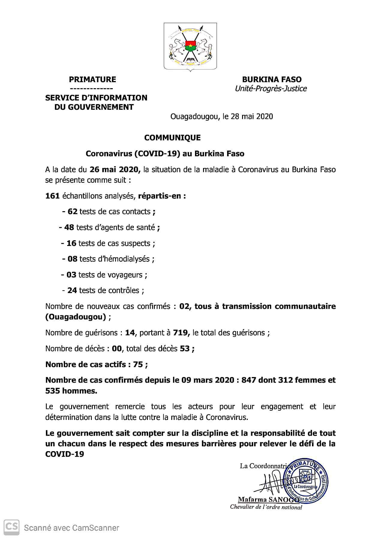 COVID-19 AU BURKINA : 02 nouveaux cas confirmés, 14 guérisons et 00 décès à la date du 25 mai 2020