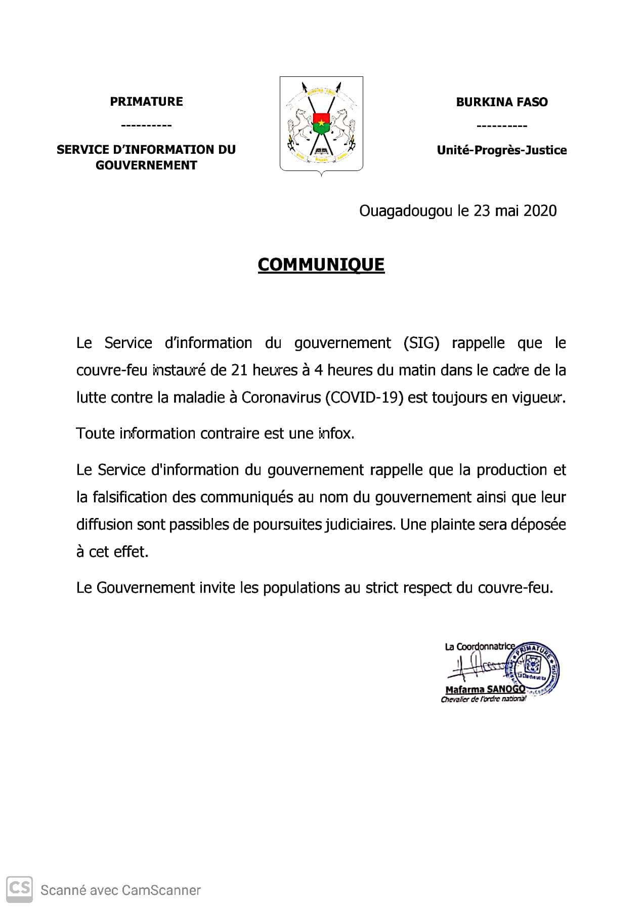 Mesures barrières contre le COVID-19 : le gouvernement dément un communiqué portant sur une levée du couvre-feu