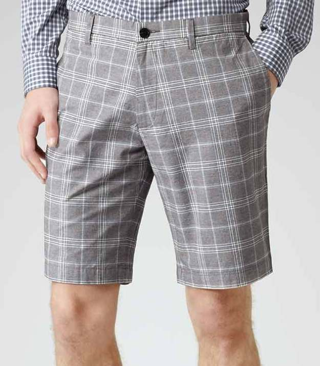 Reiss grey check shorts 243010-23-3