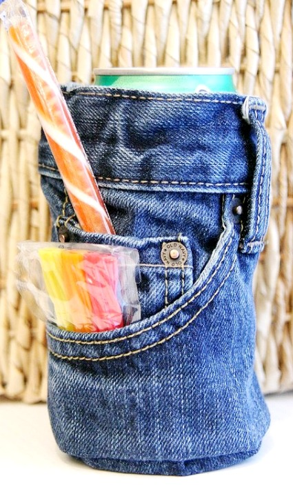 upcycled denim drink cozy