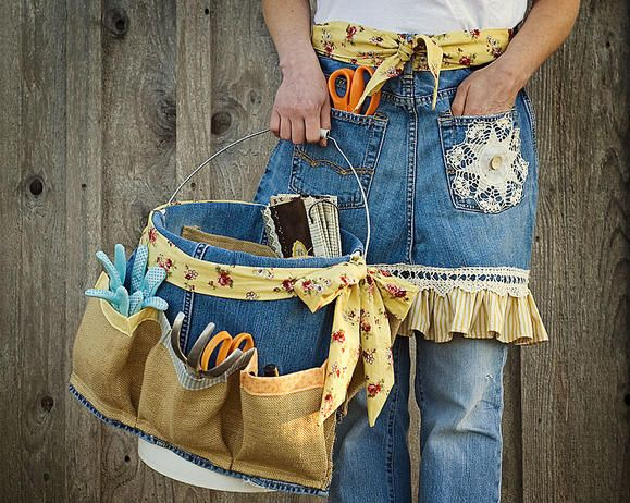upcycled jean apron and garden tool caddy