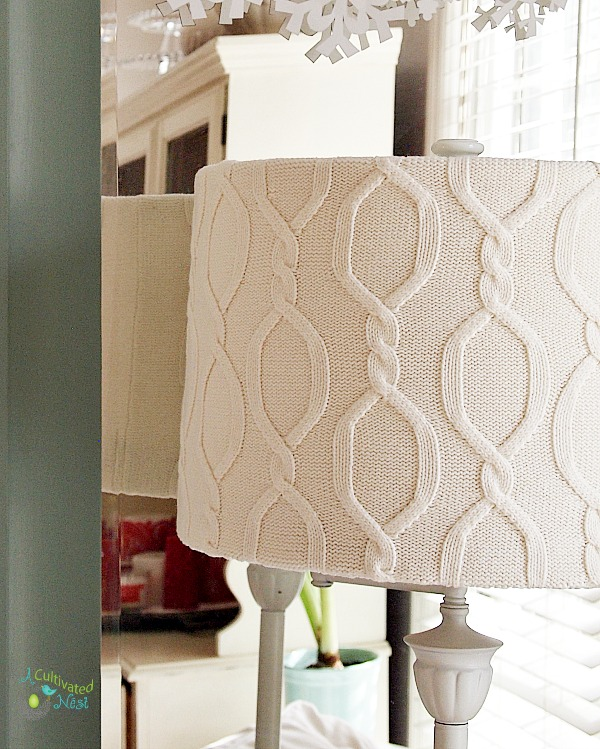 Cover lampshade with sweater cover