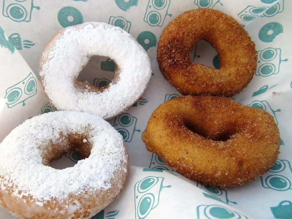 Powdered Sugar Donuts and Cinnamon Donuts from FoCo DoCo