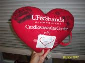 "Dad's ""heart pillow"" from Shands in Gainesville. Thank you to Dr. Hill, Dr. Beaver, Chuck and their fantastic team!!"
