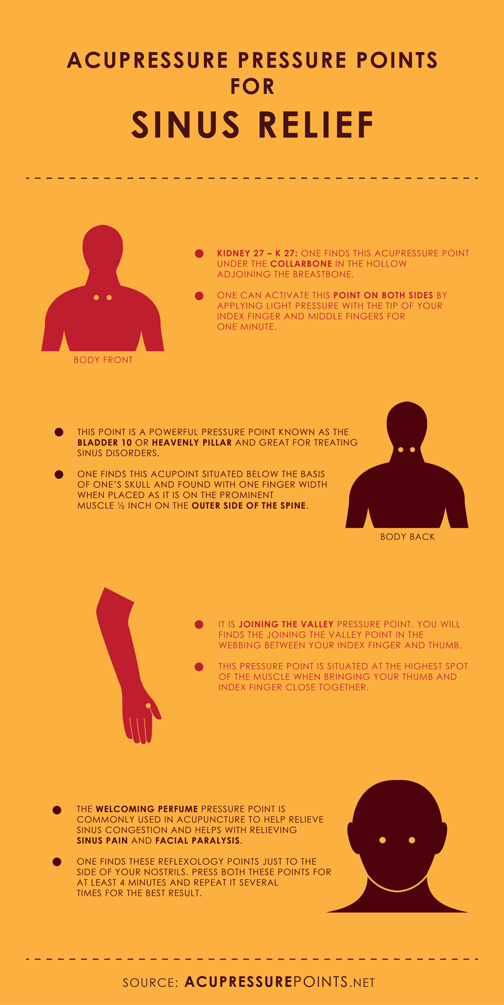 Acupressure Points for Sinus Relief Infographic
