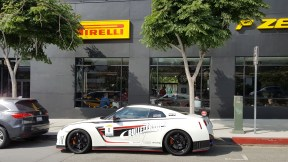 Nissan GTR at Pirelli P Zero World LA f1 fans viewing