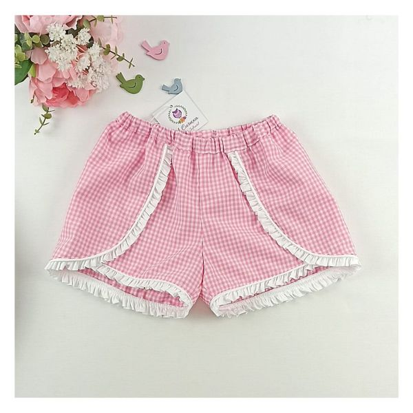 Pantalón corto de niña Vichy