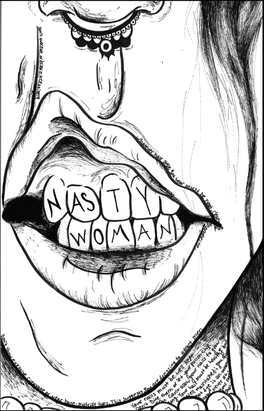 Nasty Woman By Megan Johnson The West Ottawan West Ottawa HS 1st Place Division 1, Art & Illustration Editorial Cartoon