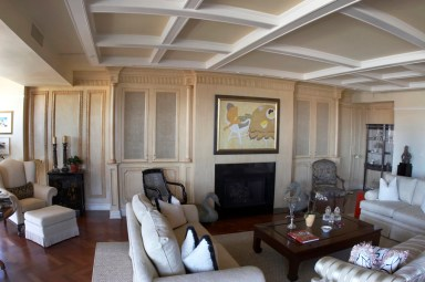 Built in and coffered ceiling