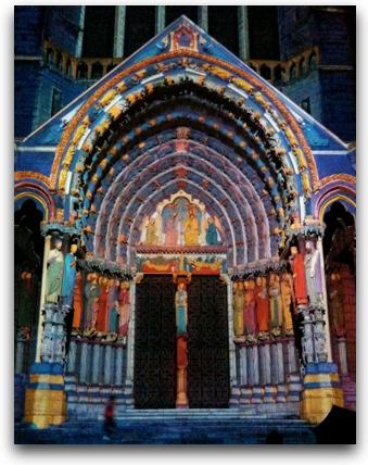 Chartres North Door illuminated