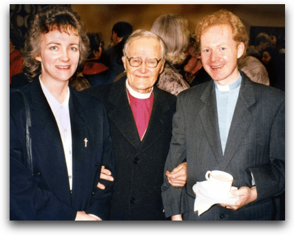 Bishop Lesslie Newbigin at Alastair Cuttings Induction as Vicar of Copthorne 25 March 1996 - click for larger version
