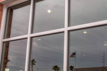 Close-up of Commercial GLass Storefront - Work by A Cutting Edge Glass & Mirror of Las Vegas, Nevada