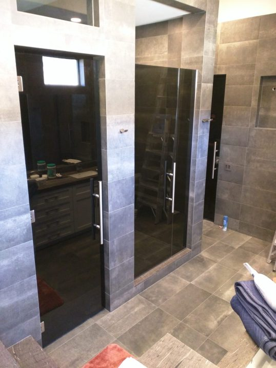 Dark Custom Shower - A Cutting Edge Glass & Mirror of Las Vegas, Nevada