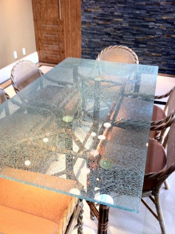 Custom Designed Cracked Glass Table