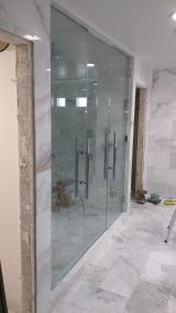 Custom Double Shower Door Enclosure System - A Cutting Edge Glass & Mirror