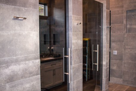Dark Grey Custom Shower Door y A Cutting Edge Glass & Mirror