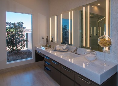 Close-Up of Master Bathroom Custom Mirrors