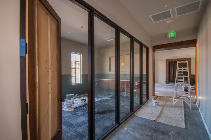 During Project Construction of Castile Apartments - Interior Glass Walls