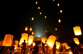 Buddhists release paper lanterns near Borobudur temple during Vesak Day celebrations in Magelang
